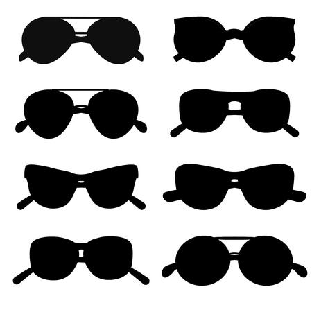 Sunglasses silhouette accessory collection style eye frame vector. Silhouette sunglasses accessory and silhouette sunglasses style eye frame. Silhouette sunglasses protection lens. Illustration