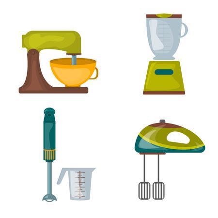 Kitchen appliances food processor kitchenware mixer hand blender electric, equipment vector. Kitchenware electric equipment kitchen appliances and kitchen appliances household cooking utensil.
