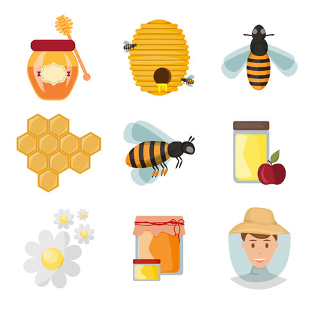 beeswax: Icons apiaries and bee. Bee flying in beehive, jar honey and honeycomb, beekeeper apiary. Apiary set art. Apiary set honey beekeeping honeycomb beeswax apiary bee, honey jar, little bee.