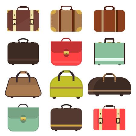 leather bag: Set many types isolated travel bag for man or woman. Travel bag set and travel hand bag. Travel bag luggage suitcase journey trip and travel bag case baggage. Luggage travel bag. Leather travel bag. Stock Photo