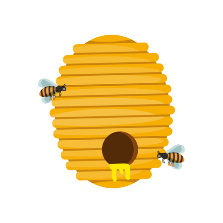 Board illustration of beehive surrounded by bees. Bee hive cartoon and honey bee hive natural yellow insect home. Bee hive animal and bee hive beekeeper isolated design. Gold pollen fly organic