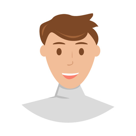 young man face: Face of young man and young man face portrait. Cartoon young man face and fashion young man face. cartoon avatar young man face. Happy young man face with brown hair. Illustration