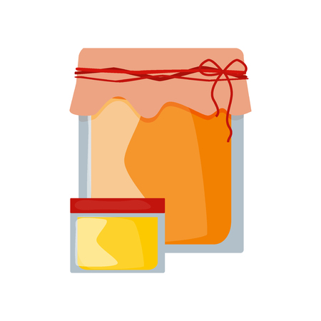 wooden stick: Glass can full of honey and wooden stick isolated. Honey jar vector and cartoon honey jar sweet food. Yellow honey jar healthy ingredient nutrition and isolated natural delicious honey jar. Illustration