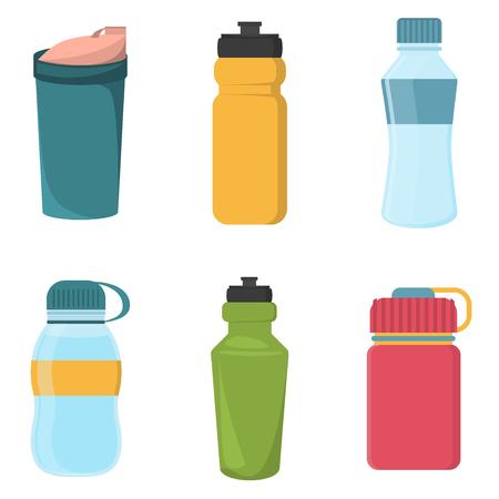 Conjunto de botellas de plástico de la bicicleta en blanco para el agua. botella de agua botella de agua botella de agua