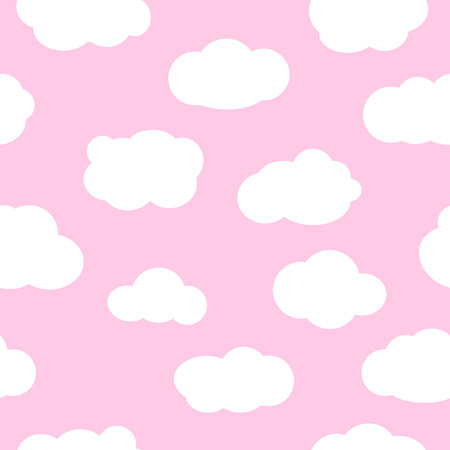 pink sky: Pink sky with clouds, seamless pattern. White clouds seamless pattern design and baby art clouds seamless pattern. Baby shower clouds seamless pattern and baby shower texture design.