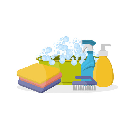 cleanliness: Household supplies and cleaning flat icons set. Tools guidance cleanliness and order house. Cleaning supplies still life household supplies. Household cleaning supplies. Tools of house cleaning.