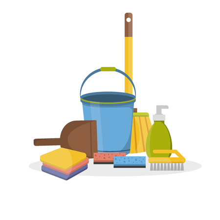 guidance: Household supplies and cleaning flat icons set. Tools guidance cleanliness and order house. Cleaning supplies still life household supplies. Household cleaning supplies. Tools of house cleaning.