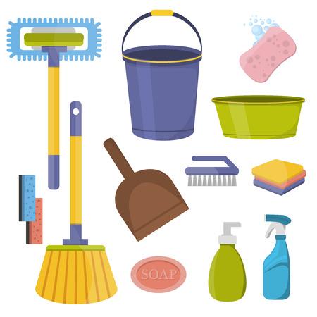 set di strumenti di pulizia. strumenti di pulizia design piatto. forniture per la casa e per la pulizia strumenti icone set. Macchine per la pulizia attrezzi domestici e pulizia strumenti di servizio detergente igiene casa.
