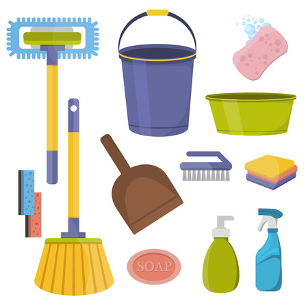 un conjunto de herramientas de limpieza. limpieza de herramientas de diseño planos. artículos de uso doméstico y de limpieza herramientas de conjunto de iconos. Equipos de Limpieza herramientas de trabajo de casa y herramientas de limpieza higiene del hogar detergente servicio.
