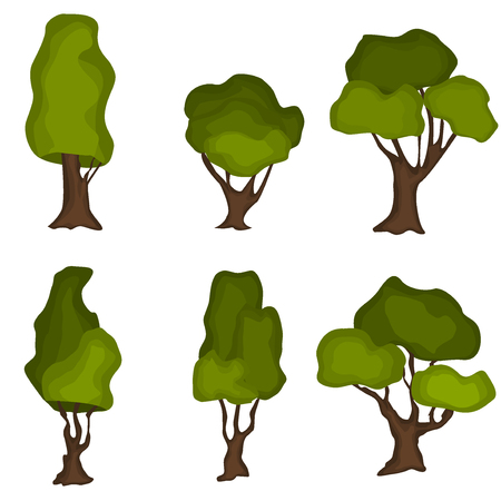 green plants: Set of abstract stylized trees. Natural trees illustration. Cartoon trees green nature and summer forest green trees collection. Trees leaf green plants and ecology forest oak trees eco branch.