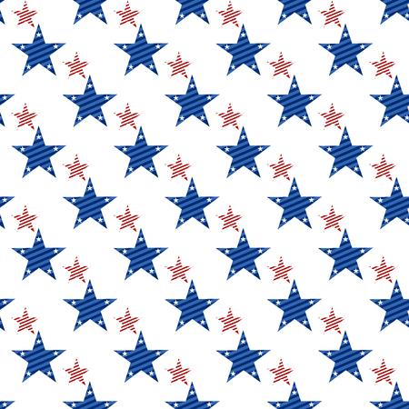 Nahtloses Muster des glücklichen Unabhängigkeitstags. Gedenktag. 4. Juli. Set amerikanische Hintergründe. Sammlung nahtlose Muster in den traditionellen roten, blauen und weißen Farben. USA Flagge Vektor.
