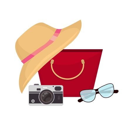 sun glasses: Summer accessories sun glasses, bag and camera. Vector illustration summer bag travel concept. Vacation beach tourism sea hat holiday summer bag. Trip colorful accessory journey recreation. Illustration