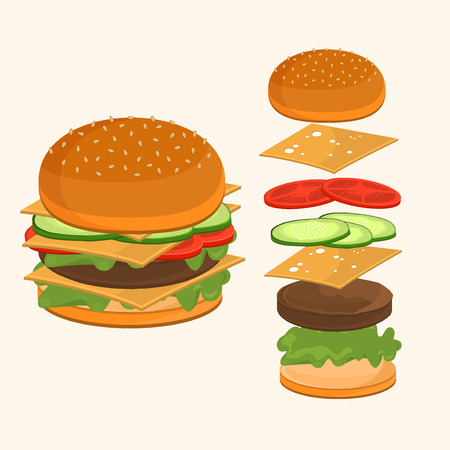 Fastfood. Hamburger ingredients vector illustration. Flying ingredients of hamburger ingredients. Fast food hamburger ingredients unhealthy, cheddar american fast food lunch. Vettoriali