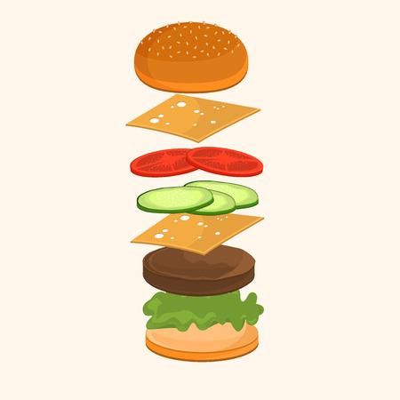 cheddar: Fastfood. Hamburger ingredients vector illustration. Flying ingredients of hamburger ingredients. Fast food hamburger ingredients unhealthy, cheddar american fast food lunch. Illustration