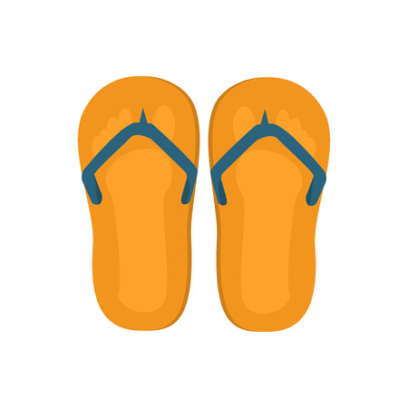 flip flops on the beach: Pair of flip-flops isolated on a white background. Vector illustration flip flops. Beach footwear fashion vacation, travel pair flip flops. Casual recreation foot shoe sandal isolated yellow slipper. Illustration