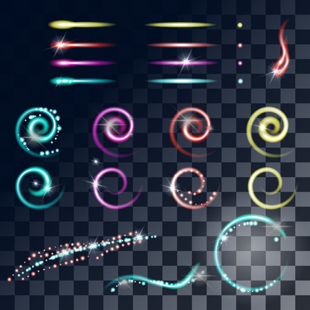 special effects: Glow effects. Glowing particles. Starry glow. Flashes multicolored special effects. Lighting glow effect vector glow luminescence. Set of light glow effect. Glowing stars, Lights and Sparkles effect