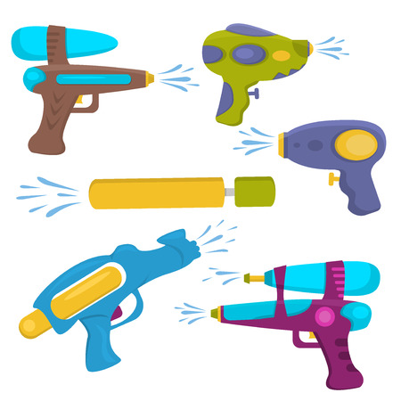 barrel bomb: Water gun isolated. Plastic water gun songkran festival squirt gun. Set water guns. collection water pistols on white. Water pistols water spray vector toy guns. Water guns flat set for water fights.