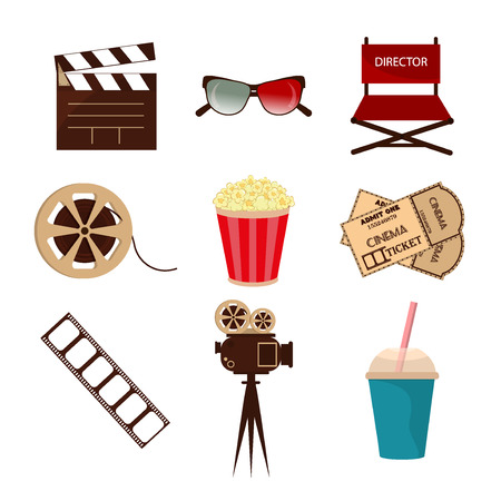 movie screen: Set of movie design elements and cinema icons in flat style. Cinema symbols movie entertainment design, video 3d glasses. Director multimedia cinema symbols. Camera strip cinema symbols screen media.