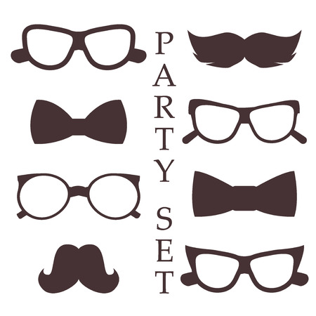 fake mask: Retro party set glasses, hats mustaches, ties and pipe design photo booth, scrapbook in vector. Fashion glasses costume fun party set mask mustache style. Face accessory party set fun beard character