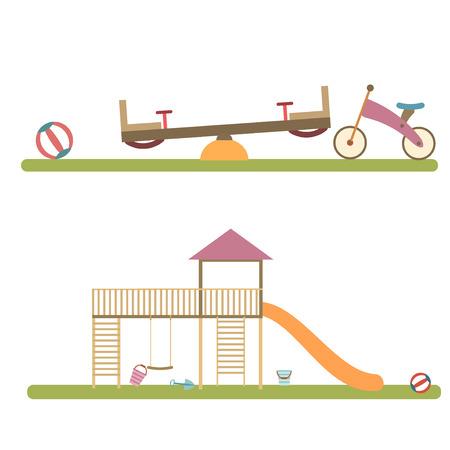 Playground infographic elements vector flat illustration.Kids playing equipment playground infographic set.Flat style cartoon vector illustration with isolated playground infographic objects. Illustration