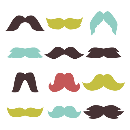 Face accessory party set fun beard character. Mustache black hair and man mustache hipster set. Mustache retro curly collection face beard mustache. Mustache barber hairstyle hipster mask disguise.