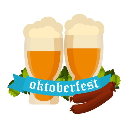 Oktoberfest celebration vector with two beer mugs. Oktoberfest beer banner festival pub sign symbol germany bavaria design. Oktoberfest glass beer festival banner party bar traditional culture.