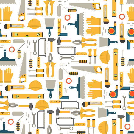 Seamless pattern construction tools vector equipment tool. Carpenter working table construction tools. Carpentry instrument spanner woodwork industry flat lay concept construction tools hammer work.