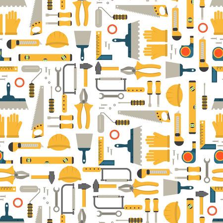 herramientas de construcción patrón transparente herramienta del vector del equipo. Herramientas del carpintero de construcción mesa de trabajo. Carpintería instrumento llave industria de la madera plana herramientas concepto de construcción legos trabajo martillo.