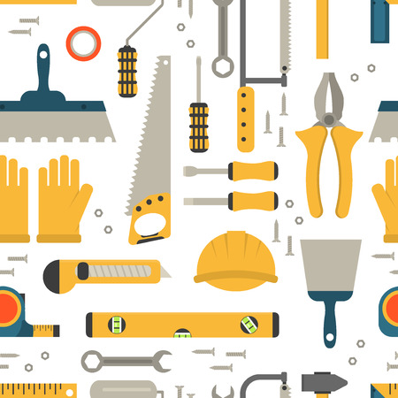 woodwork: Seamless pattern construction tools vector equipment tool. Carpenter working table construction tools. Carpentry instrument spanner woodwork industry flat lay concept construction tools hammer work.
