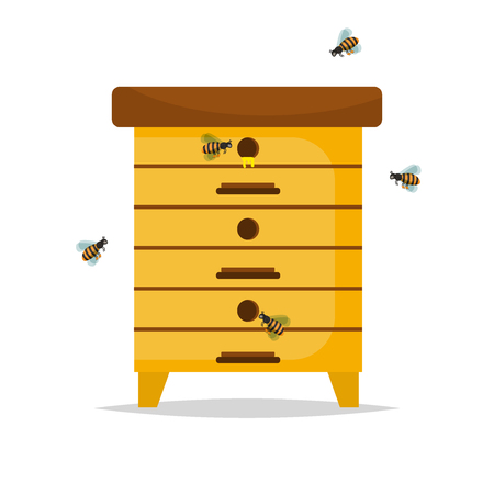 beekeeper: Wooden Beehive on white background. Traditional beehive natural beekeeper insect organic farm. Cartoon illustration beehive. Stock vector beehive nature honeycomb food sweet home.