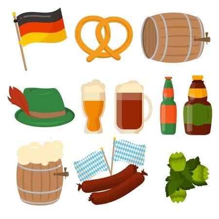 Set of German Oktoberfest vector sausage bavarian design elements isolated on white background. Beer Oktoberfest German festival keg of beer, bottle beer. Wurst german flag and pretzel. Illustration