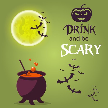ghost house: Halloween border ghost moon card dark silhouette for design. Horror celebration background halloween icons party cartoon set. Spooky moon autumn halloween october vector symbols design.