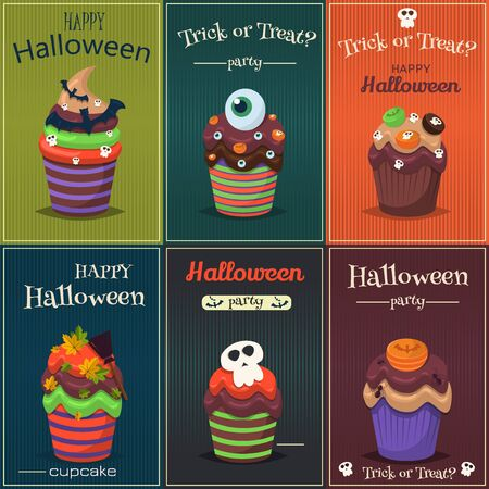Cupcake happy halloween scary sweets poster set. Pumpkin chocolate halloween poster decorated icing cupcake. Halloween vector cupcakes promo party invitation. Trick or treat halloween poster set. 矢量图像