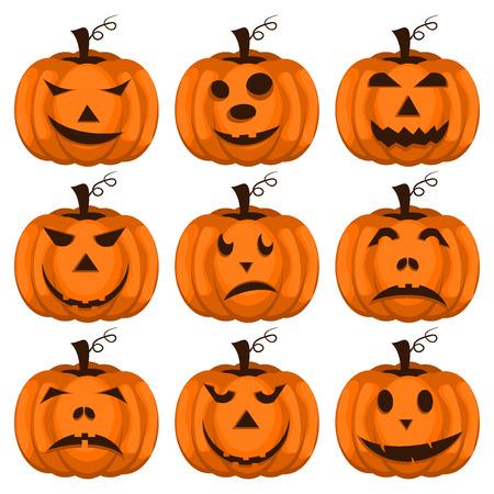 jack o  lanterns: Set pumpkins for Halloween. Set of spooky halloween jack o lanterns. Halloween pumpkin orange scary holiday jack o lanterns symbol. Funny halloween pumpkin jack o lantern face vector set.
