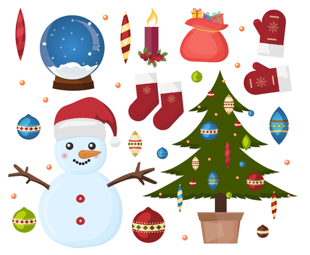 Christmas icon ornament star winter holiday candle collection. Holiday winter christmas icons celebration symbol. Green christmas tree, snowman icons. Vector xmas gift celebration decoration.