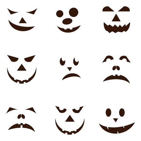 jack o  lanterns: Set of spooky halloween jack o lanterns. Halloween pumpkin orange scary holiday jack o lanterns symbol. Funny halloween pumpkin jack o lantern face vector set. Jack-o-lantern pumpkin faces glowing.