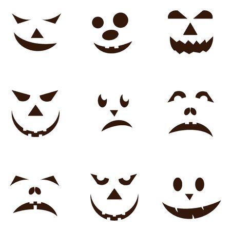 Set of spooky halloween jack o lanterns. Halloween pumpkin orange scary holiday jack o lanterns symbol. Funny halloween pumpkin jack o lantern face vector set. Jack-o-lantern pumpkin faces glowing.