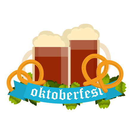 Oktoberfest celebration with two beer mugs. Oktoberfest beer banner festival pub sign symbol germany bavaria design. Oktoberfest glass beer festival banner party bar traditional culture. Stock Photo