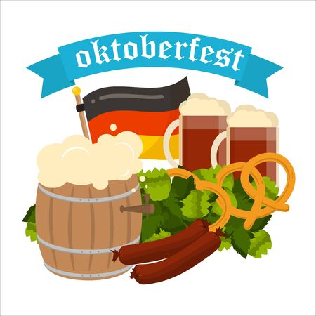Oktoberfest celebration poster. Oktoberfest text. Beer Oktoberfest German festival keg of beer, bottle beer. Festive Oktoberfest Banners, Headers with Beer, Wurst, Flag and Pretzel.