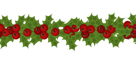 ilex: Green Christmas garlands of holly and mistletoe. Horizontal seamless background with Christmas holly. Christmas border seamless pattern holly vector decoration holiday winter background.