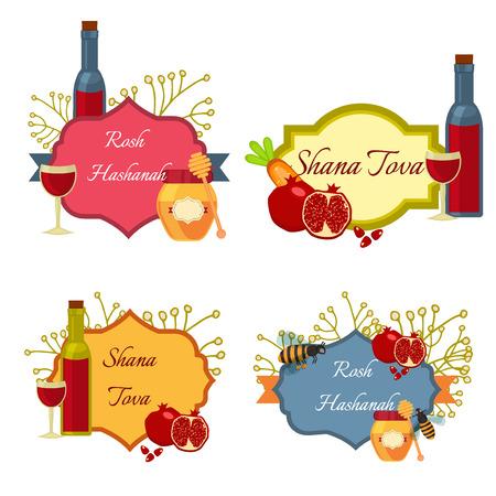 rosh: collection of labels and elements for Rosh Hashanah Jewish New Year. Shana tova Rosh Hashanah vector greeting card design for Jewish New Year. Rosh Hashanah celebration hashanah shana tova symbols