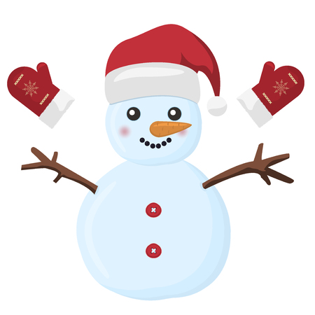 snowman cartoon: Snow holiday cold celebration snowman december cartoon symbol. Snowman vector illustration frozen character man on white background. Happy cute white snowman christmas hat. Merry christmas. Illustration