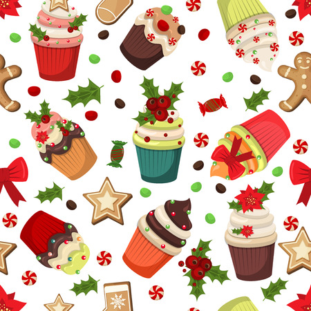 christmas cupcakes: Christmas cupcakes muffins vector seamless pattern. Sweet dessert food christmas cupcakes celebration party winter baking. Cupcakes holidays sugar food Christmas winter holiday seamless pattern..