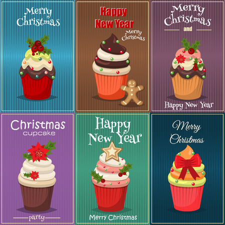 christmas cupcakes: Christmas set of cupcakes and muffins vector. Sweet dessert food christmas cupcakes celebration party winter baking. Xmas decorated festive frosting Christmas cupcakes holidays sugar food.