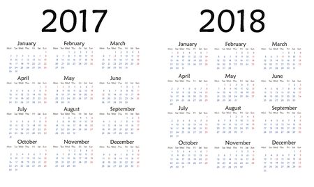 Simple calendar for 2017. Vector template design monthly date illustration 2018 calendar week organizer simple number. Organizer date 2017 year calendar month business template design.
