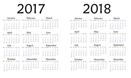Einfacher Kalender für 2017. Vektor-Vorlage Design monatlichen Datum Illustration 2018 Kalenderwoche Veranstalter einfache Zahl. Veranstalter Datum 2017 Jahre Kalendermonat Business-Template-Design. Standard-Bild - 63656456