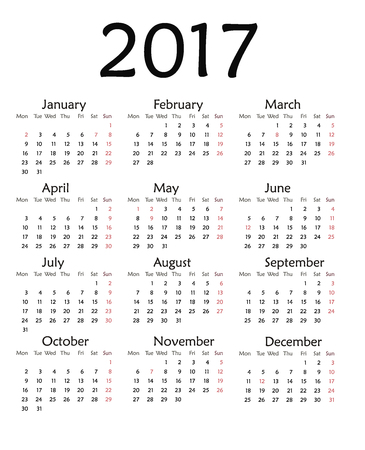 Simple calendar for 2017. Vector template design monthly date illustration 2017 calendar week organizer simple number. Organizer date 2017 year calendar month business template design.