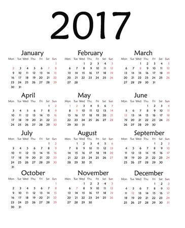Einfacher Kalender Für 2018. Vektor-Vorlage Design Monatlichen Datum ...