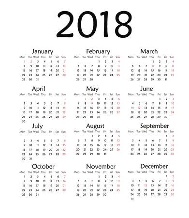 Eenvoudige kalender voor 2018. Vector sjabloon ontwerp maandelijkse datum illustratie 2018 kalender week organisator eenvoudig nummer. Organisator datum 2018 jaar kalendermaand business template ontwerp.