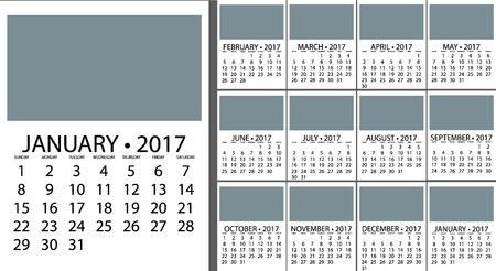 Einfacher Kalender Für 2017. Vektor-Vorlage Design Monatlichen Datum ...